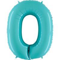 Шарик цифра Грабо 100см. 0 Пастель голубая 40 (УП)