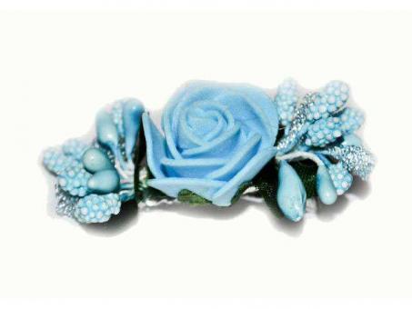 №1028 Заколка Цветок голубая