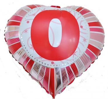 Фольга Сердечко с цифрой 0 (красное) 45х45см.