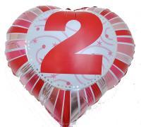 Фольга Сердечко с цифрой 2 (красное) 45х45см.