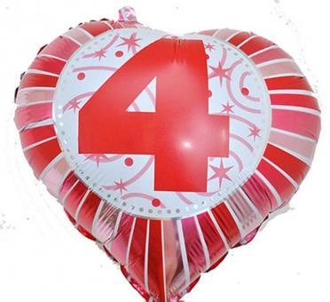 Фольга Сердечко с цифрой 4 (красное) 45х45см.