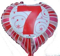 Фольга Сердечко с цифрой 7 (красное) 45х45см.