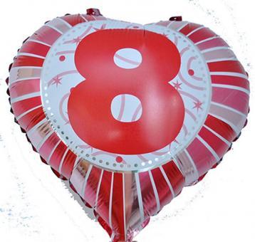 Фольга Сердечко с цифрой 8 (красное) 45х45см.