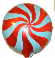 Фольга круг спираль красная 45х45см