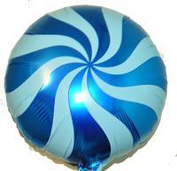 Фольга круг спираль синяя 45х45см
