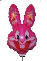 Шарик большой на палочке заяц розовый от 3 шт!