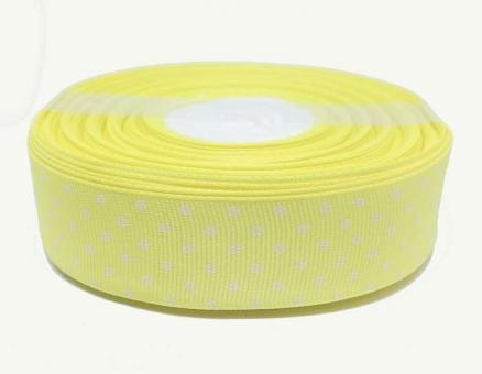 №1405 Лента репсовая 2,5смх25м св.желтая бел.горох