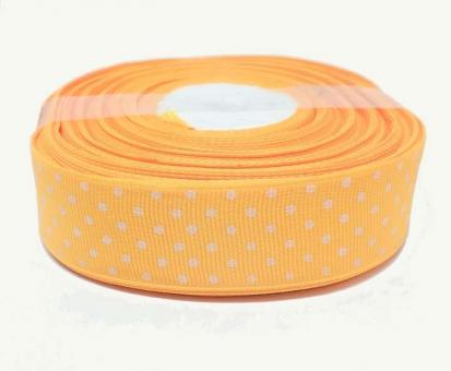 №1424 Лента репсовая 2,5смх25м апельсин бел.горох