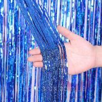 Шторка (дождик) из фольги для фотозон синяя новая 1х2 м