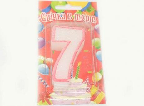 №576 Свечка в торт бело-красн. 7-ка