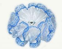 №131 Бант синий с камнем заколка