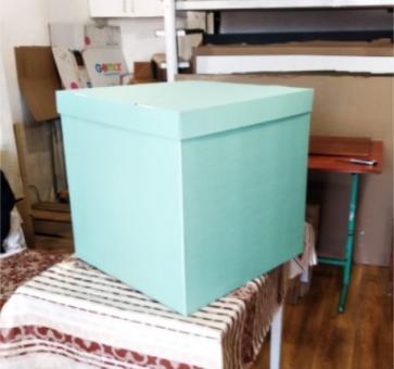 Коробка-сюрприз бирюзовая 50х50х50см. (для шариков)