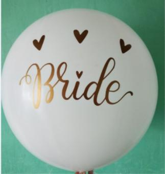 """Наклейка на шар 32""""(80 см)  BRIDE (золотая)"""