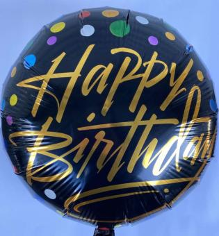 Шарик Happy Birthday (черный) 45х45см.)