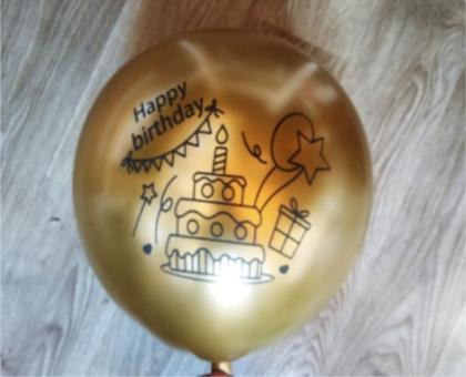 "Хром happy birthday золото 12""(30см)"