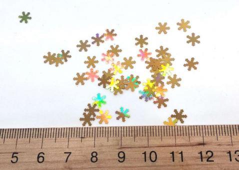 Конфети снежинки золото 3мм. 50 грамм