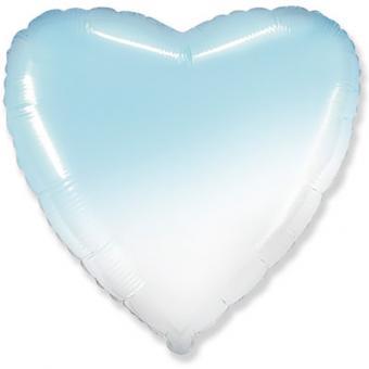 "Сердце 18""(45х45см) градиент голубое с белым  FLEXMETAL"