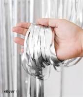 Шторка (дождик)  из фольги для фотозон серебро матовая 1х3 м.