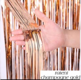 Шторка (дождик)  из фольги для фотозон розовое золото 1х3 м.