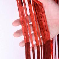 Шторка (дождик) из фольги для фотозон, красная 1х2 м
