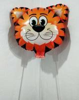 Шарик большой на палочке Голова Тигра оранжевая